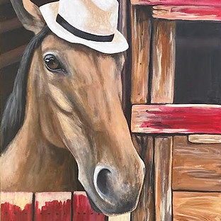 horse wearing hat painting in barn.jpg