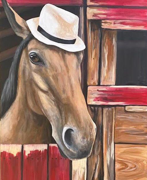horse wearing hat painting in barn.jpg