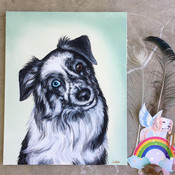 Pet memorial portrait painting Myas Rain