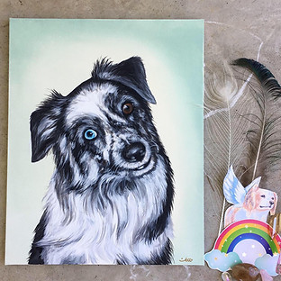 Pet memorial portrait painting Myas Rain