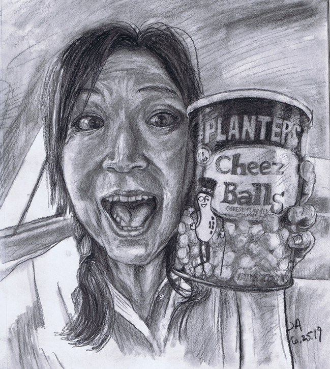 """""""Portrait of my favorite cheese ball...."""", charcoal on 11"""" x 14"""" paper, $300"""
