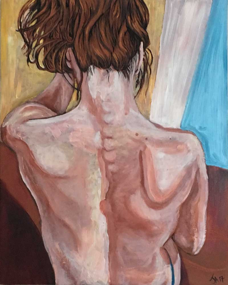 """""""Back Rub 2"""", 16"""" x 20"""", oil on canvas, $600"""