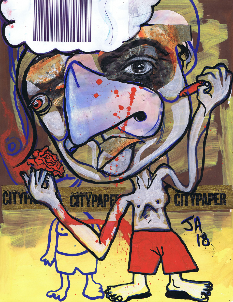 """""""Crafty Bastards, City Paper"""", mixed and collage on paper, N.F.S."""