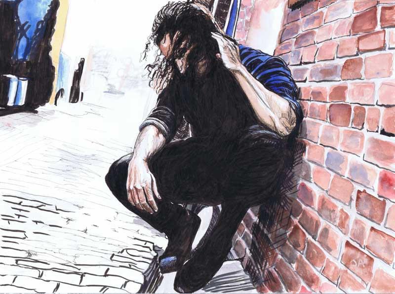 """Leo Manzari, Falling"" 9"" x 12"", Watercolor on paper, $500"