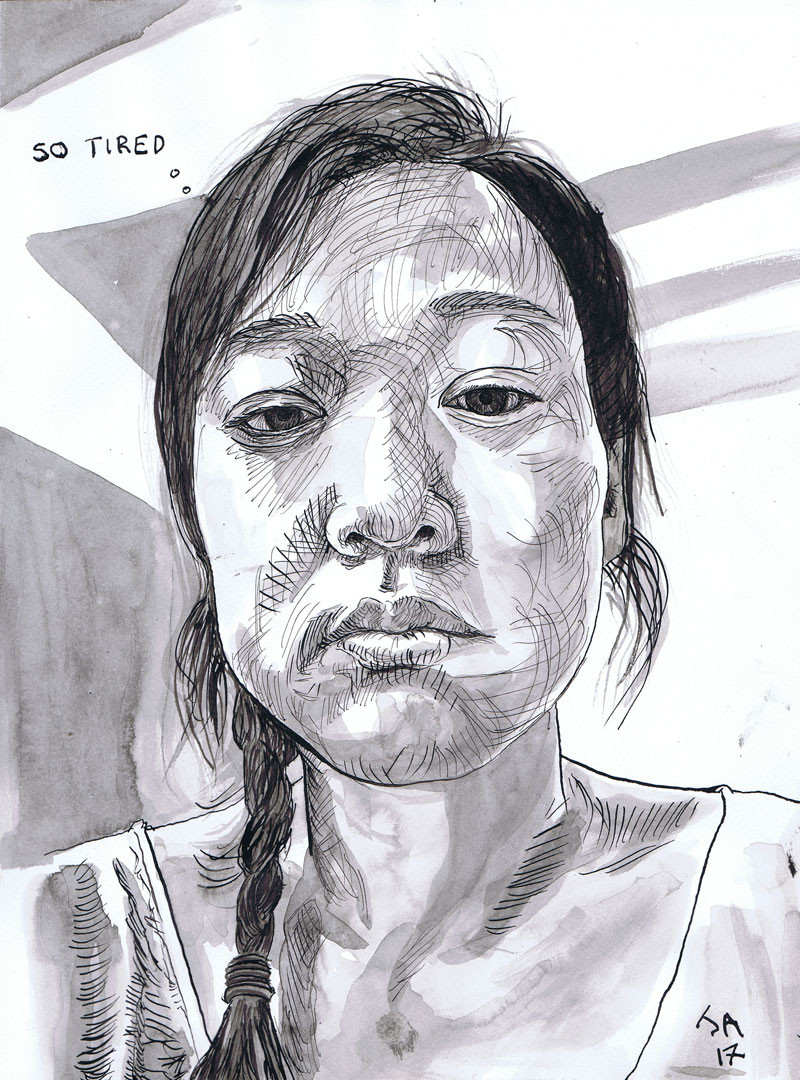 """So tired, portrait of Jaylene- selfie at work"", 9"" x 12"" ink on paper, N.F.S."