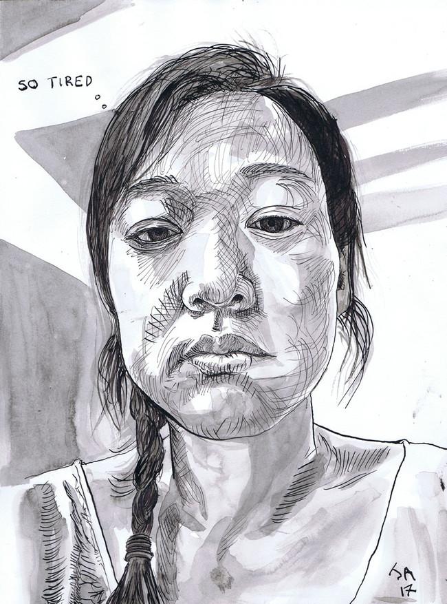 """So tired, portrait of Jaylene- selfie at work"", 9"" x 12"" ink on paper, N.F.S."