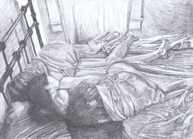 """""""Afternoon Nap 2"""", 9"""" x 12"""", pencil on paper, N.F.S."""