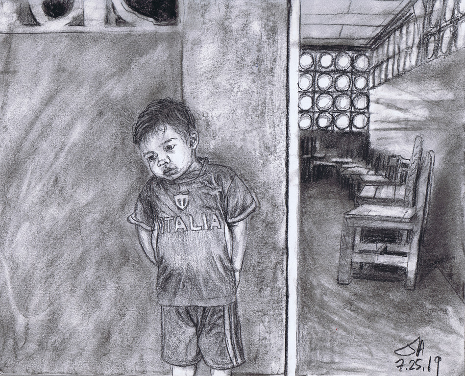 """Boy in front of the school house..."", charcoal on 11"" x 14"" paper, $300"
