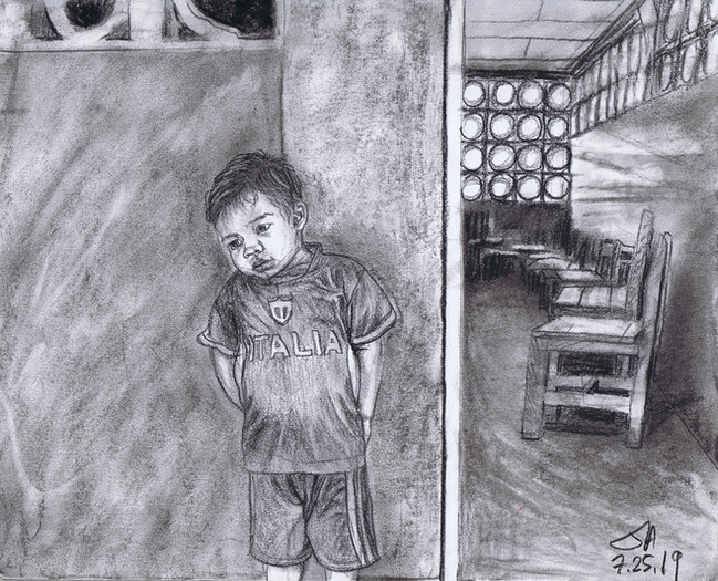 """""""Boy in front of the school house..."""", charcoal on 11"""" x 14"""" paper, $300"""