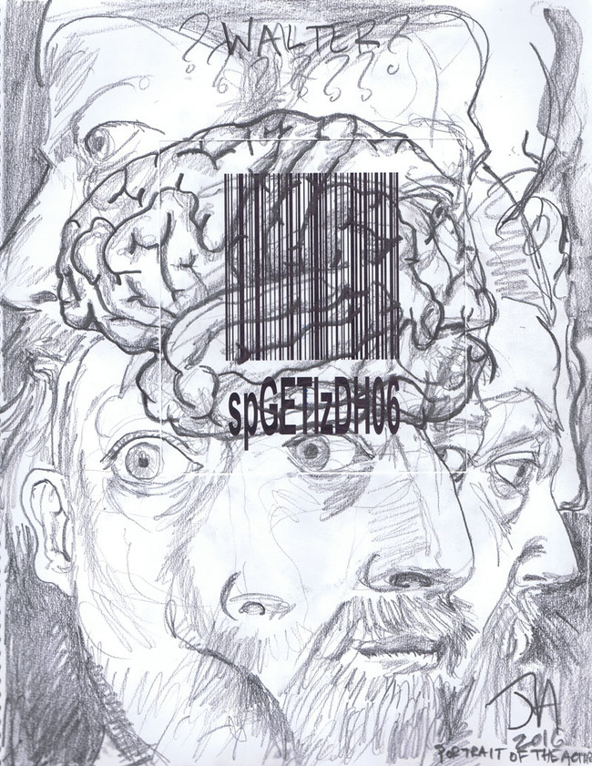 """""""Portrait of Walter the actor"""", 11"""" x 14"""" collage and pencil, made for """"before the lights go up"""", sold"""