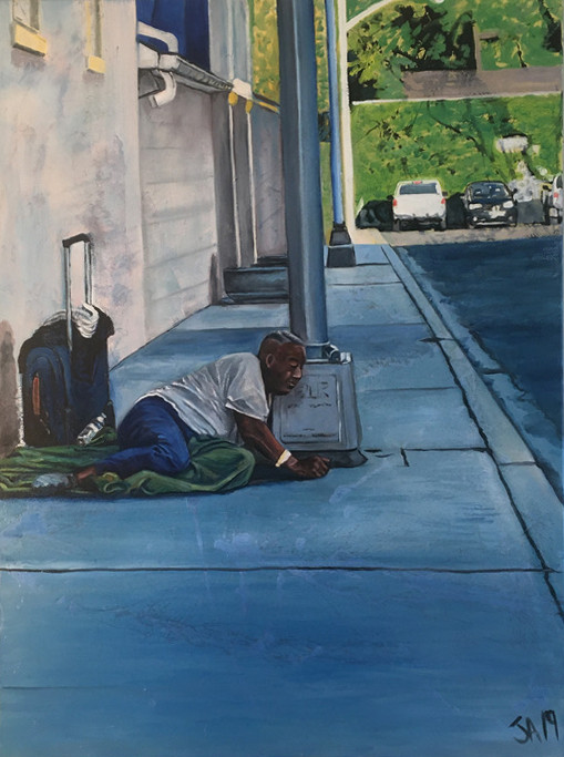 """""""Man dry heaves on the sidewalk in Silver Spring""""mixed and oil on 30"""" x 40"""" canvas, 2019, $3000"""