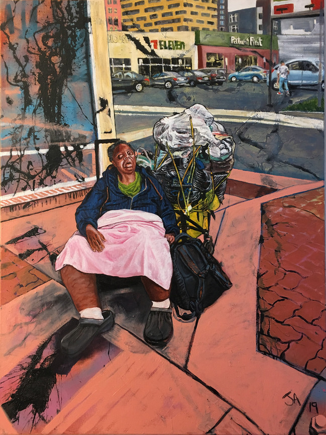 """""""Woman asleep next to her mobile home in Silver Spring"""", oil on 30"""" x 40"""" canvas"""