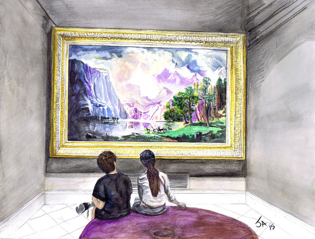 """""""Children at the American Art Museum"""", 9"""" x 12"""", watercolor and pencil on paper, N.F.S."""