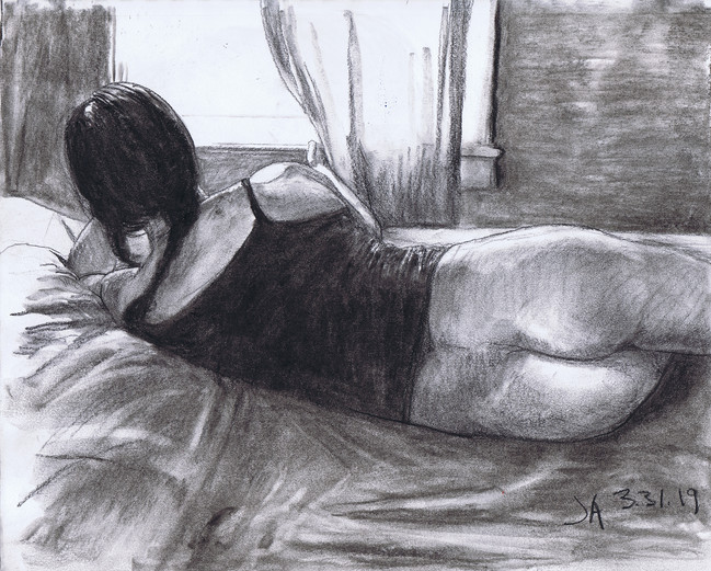 """""""Half nude model looking out the window"""", charcoal on 11"""" x 14"""" paper, $300"""