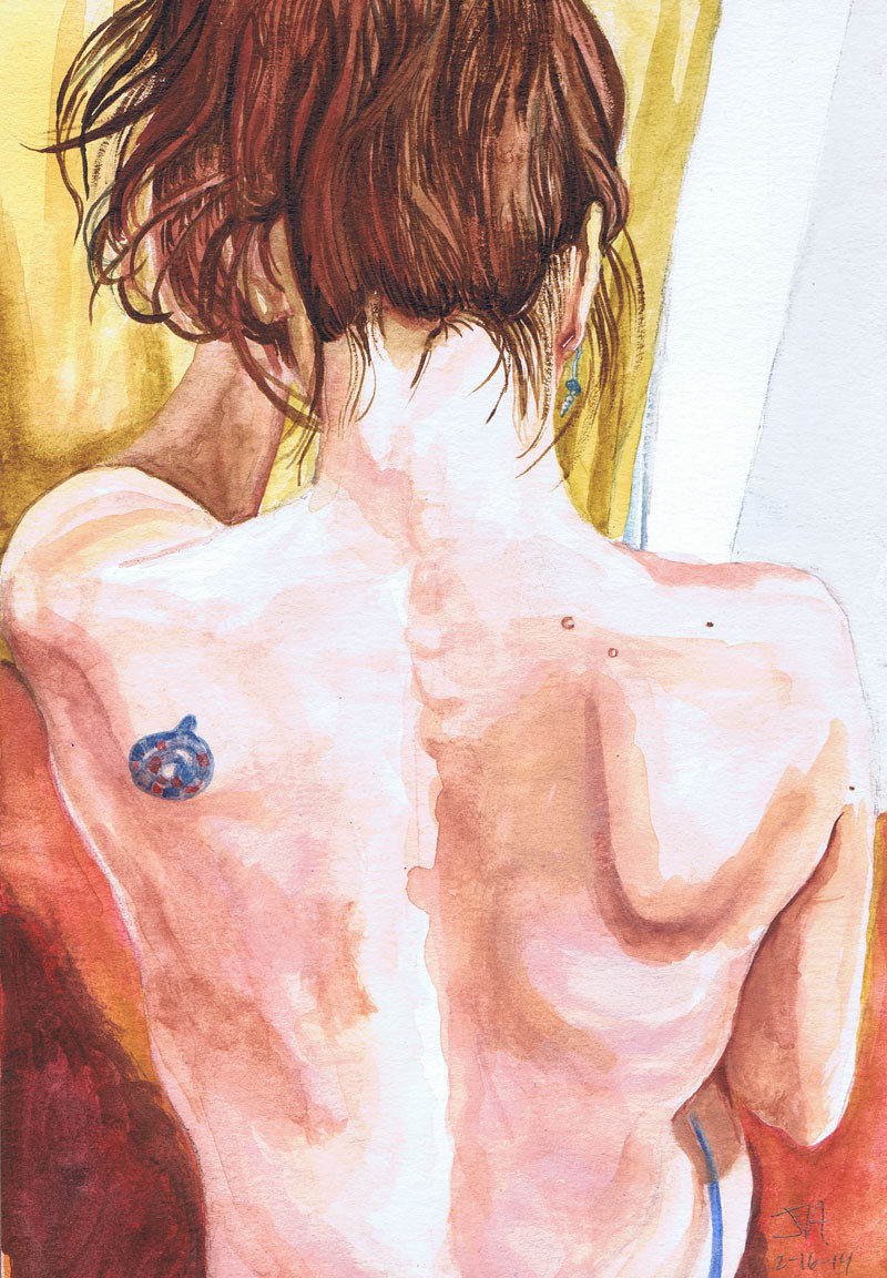 "Back Rub, 9.5"" x 5.5"", Watercolor on paper, N.F.S."