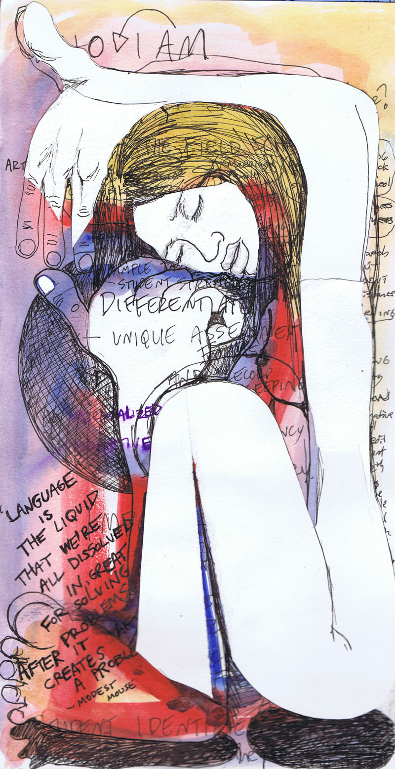 """""""Language is the liquid nude"""", 11.5"""" x 6"""" mixed on paper, N.F.S."""