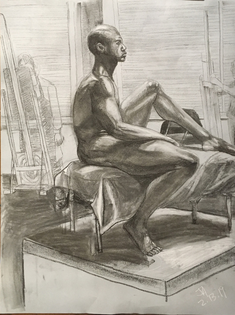 """Seated nude male profile"", charcoal on 18"" x 24"" pastel paper, 2019, $300"