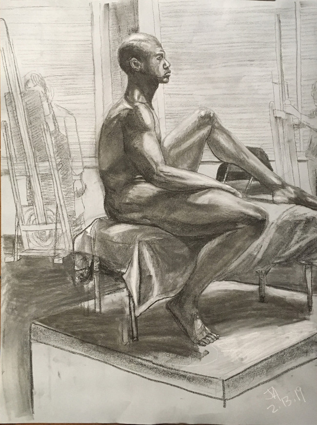 """""""Seated nude male profile"""", charcoal on 18"""" x 24"""" pastel paper, 2019, $300"""