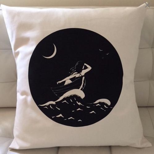 Printed Pillow - On the Night Sea