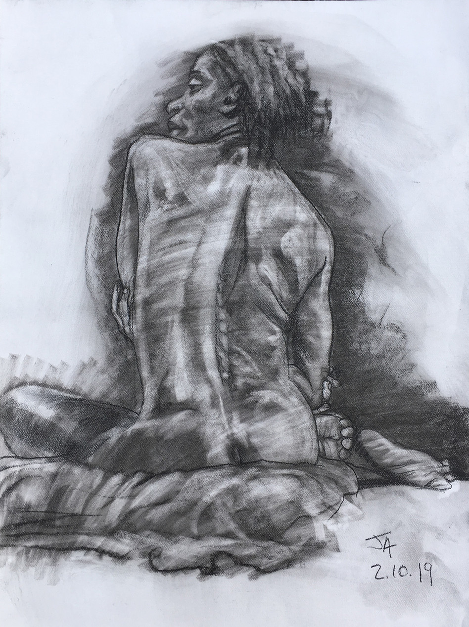 """Female nude, seated back, portrait"", charcoal on 18"" x 24"" pastel paper, 2019, $300"