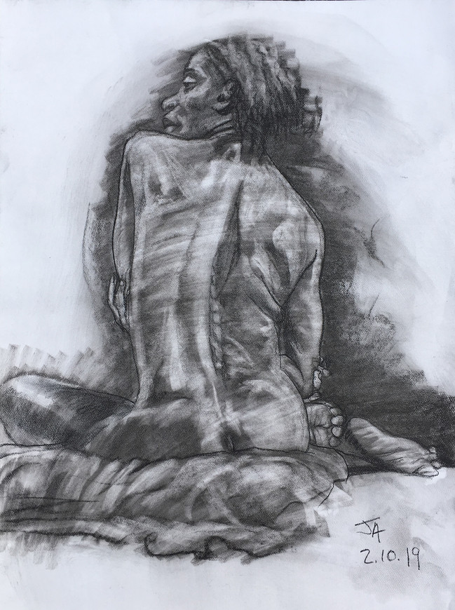 """""""Female nude, seated back, portrait"""", charcoal on 18"""" x 24"""" pastel paper, 2019, $300"""