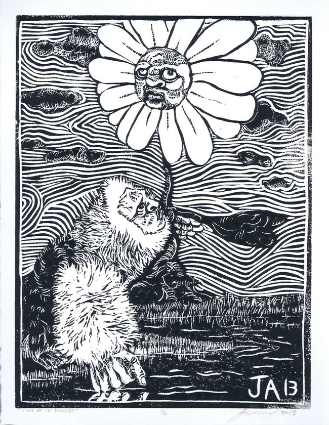 """""""I See Me in Flowers"""", 9"""" x 12"""" print, hand pulled linoleum print on larger reeves BFK paper, $145"""