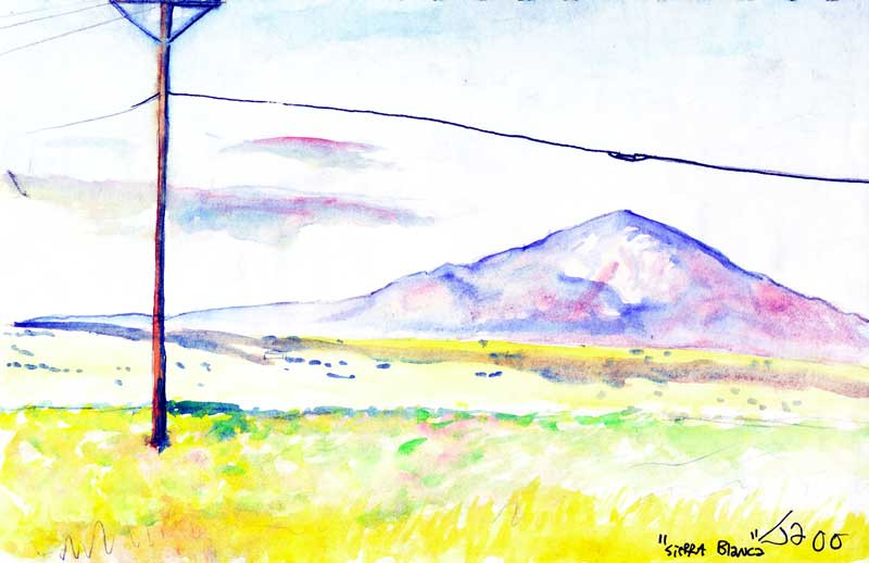 """Sierra Blanca"", 9"" x 12"", watercolor on paper, sold"