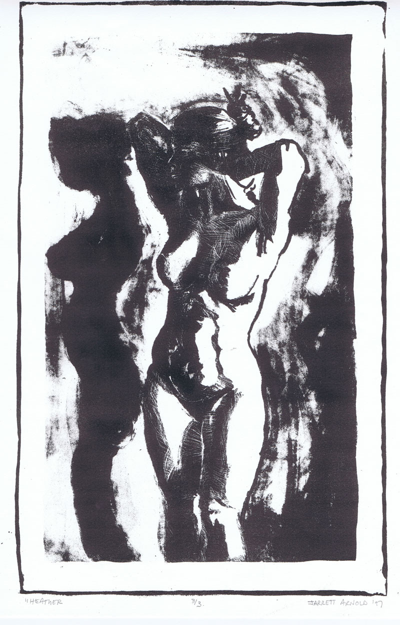 """Standing nude"", 11"" x 14"", Lithograph on arches BFK, $145"