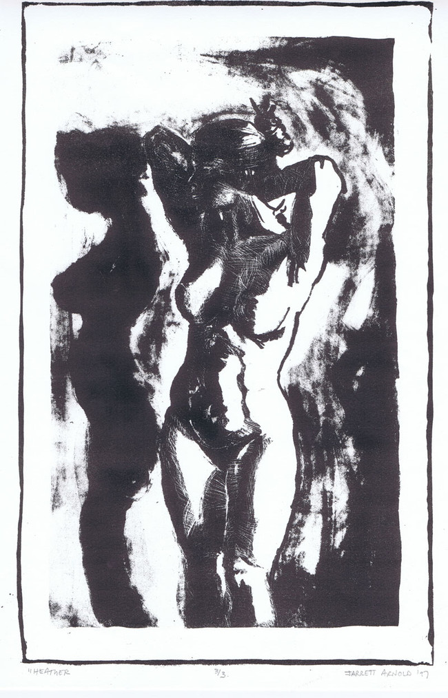"""""""Standing nude"""", 11"""" x 14"""", Lithograph on arches BFK, $145"""