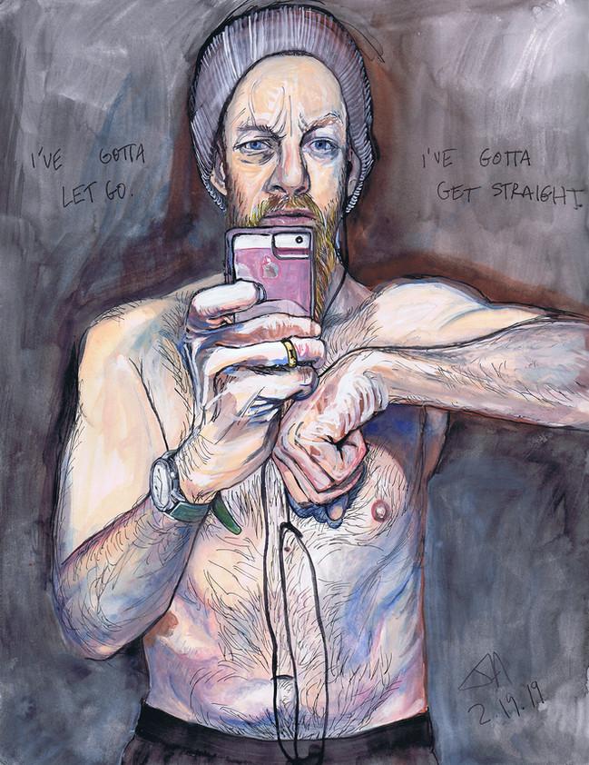 """I've gotta let go.... (self-portrait)"", pen and watercolor on 9"" x 12"" paper, sold"