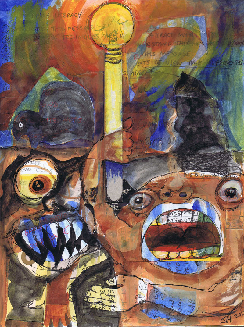 """""""Monster light"""", 9' X 12"""", mixed on paper, N.F.S."""