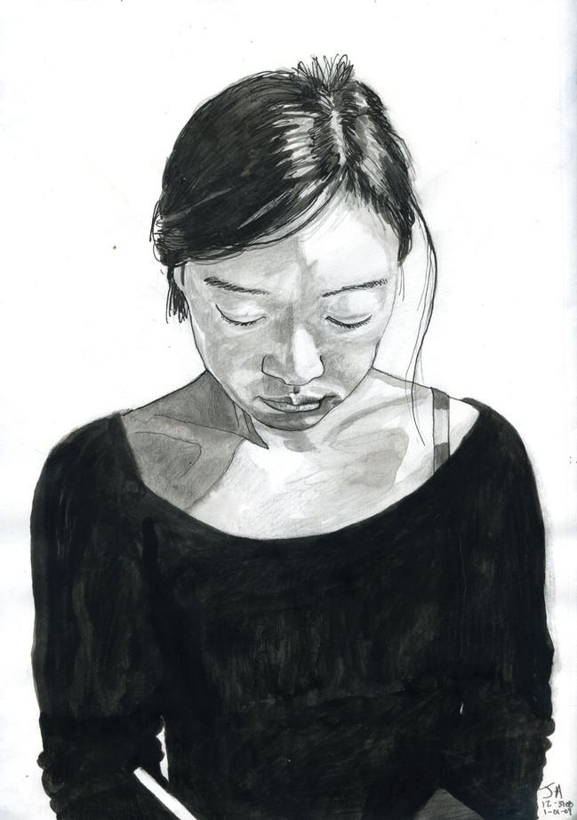 """Artist"", 9"" x 12"", ink on paper, sold"