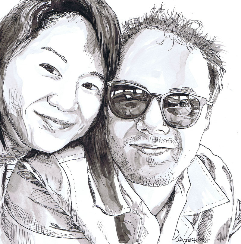 """Stephanie and John Baptiste"", 9"" x 12"" ink on paper, sold"