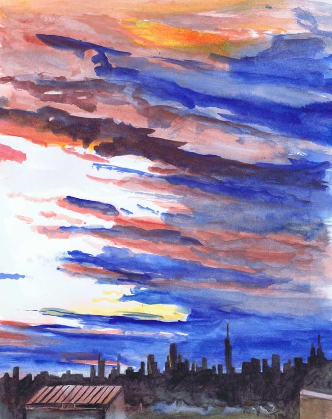"""Brooklyn Sky"", 9"" x 12"", watercolor on paper, $500"