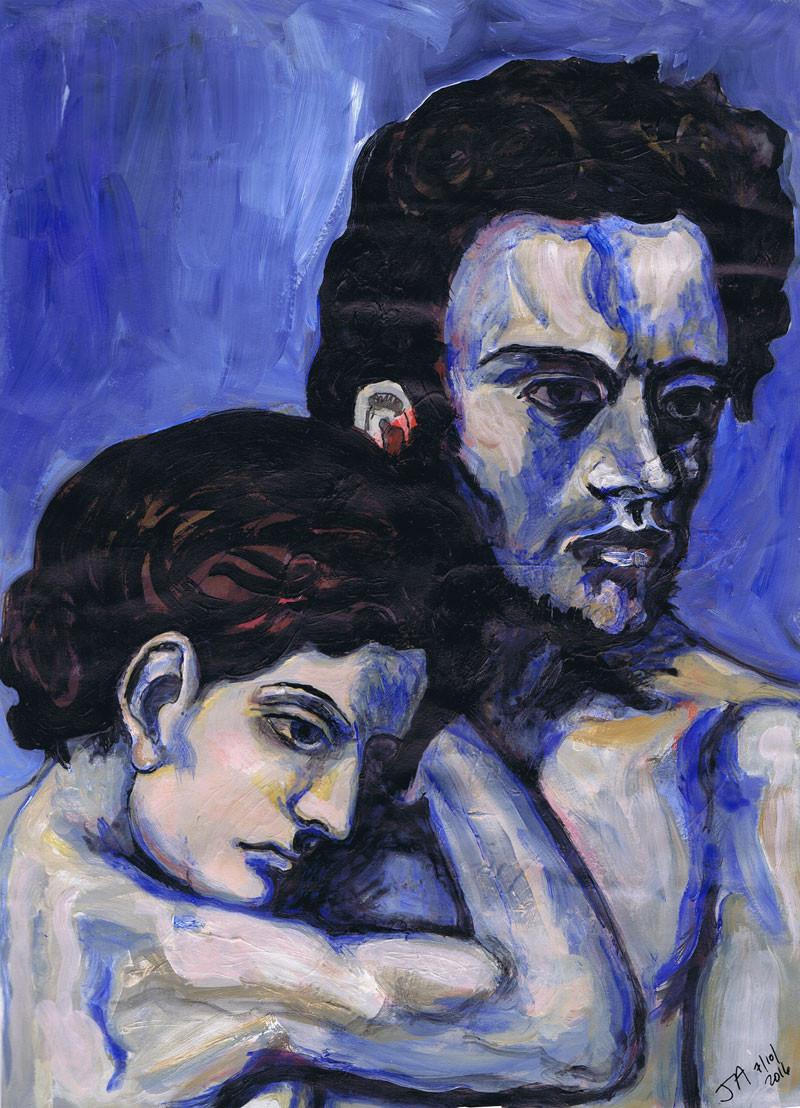 """""""La Vie Barcelona 1903 Picasso"""" 11"""" x 14"""" acrylic on paper, $300"""