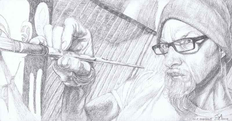 """Self portrait of the artist at work"", 9.5"" x 5.5"", pencil on paper, N.F.S."