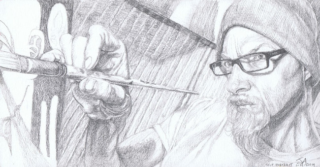 """""""Self portrait of the artist at work"""", 9.5"""" x 5.5"""", pencil on paper, N.F.S."""
