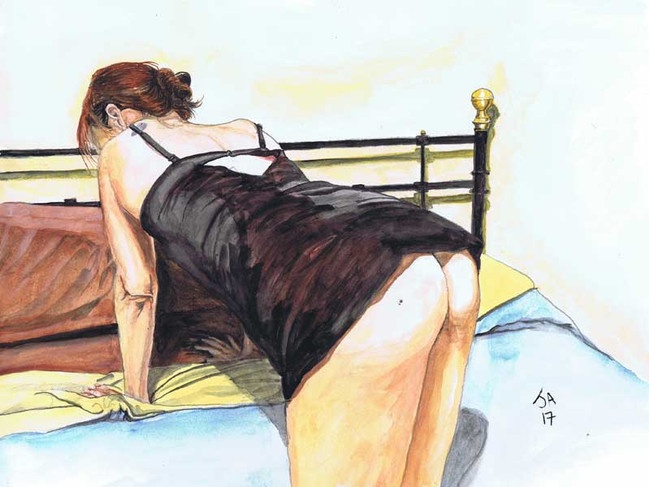 """""""Model changing position in sexy slip"""", watercolor on 9"""" x 12"""" paper, N.F.S."""
