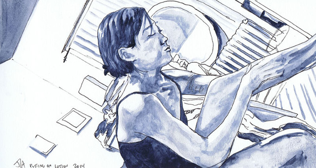 """""""Woman Putting on Lotion"""", 5.5"""" x 9.5"""", Ink on watercolor paper, N.F.S."""