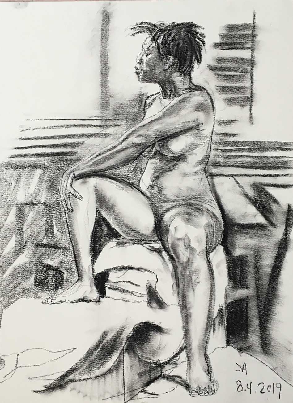 """Nude female model three quarter turn"", charcoal on 18"" x 24"" pastel paper, 2019, $300"