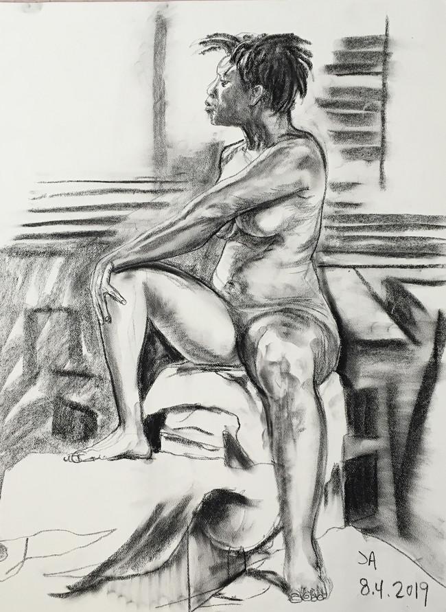 """Nude female model three quarter turn"", charcoal on 18"" x 24"" pastel paper, 2019, $300"