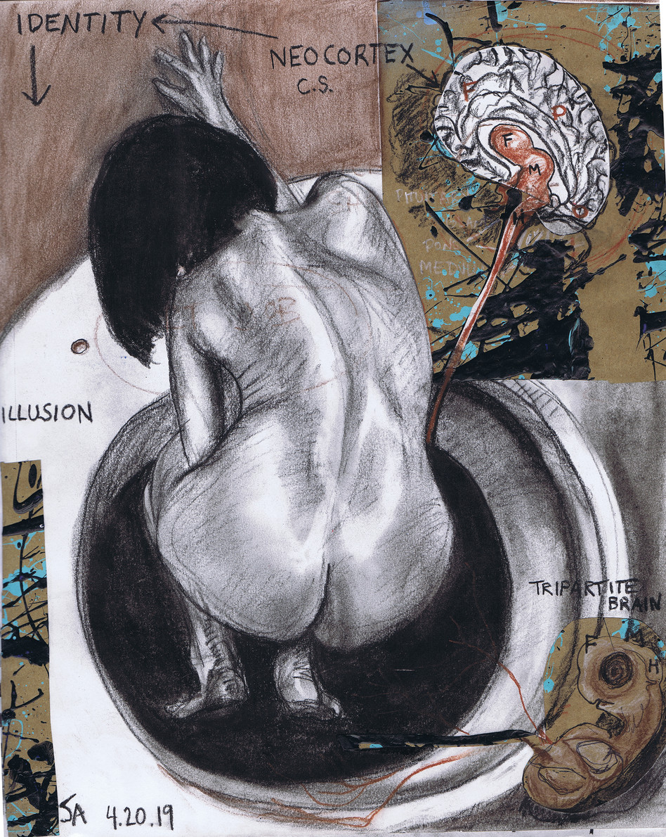 """""""Identity is transient"""", collage and charcoal on 11"""" x 14"""" paper, $400"""