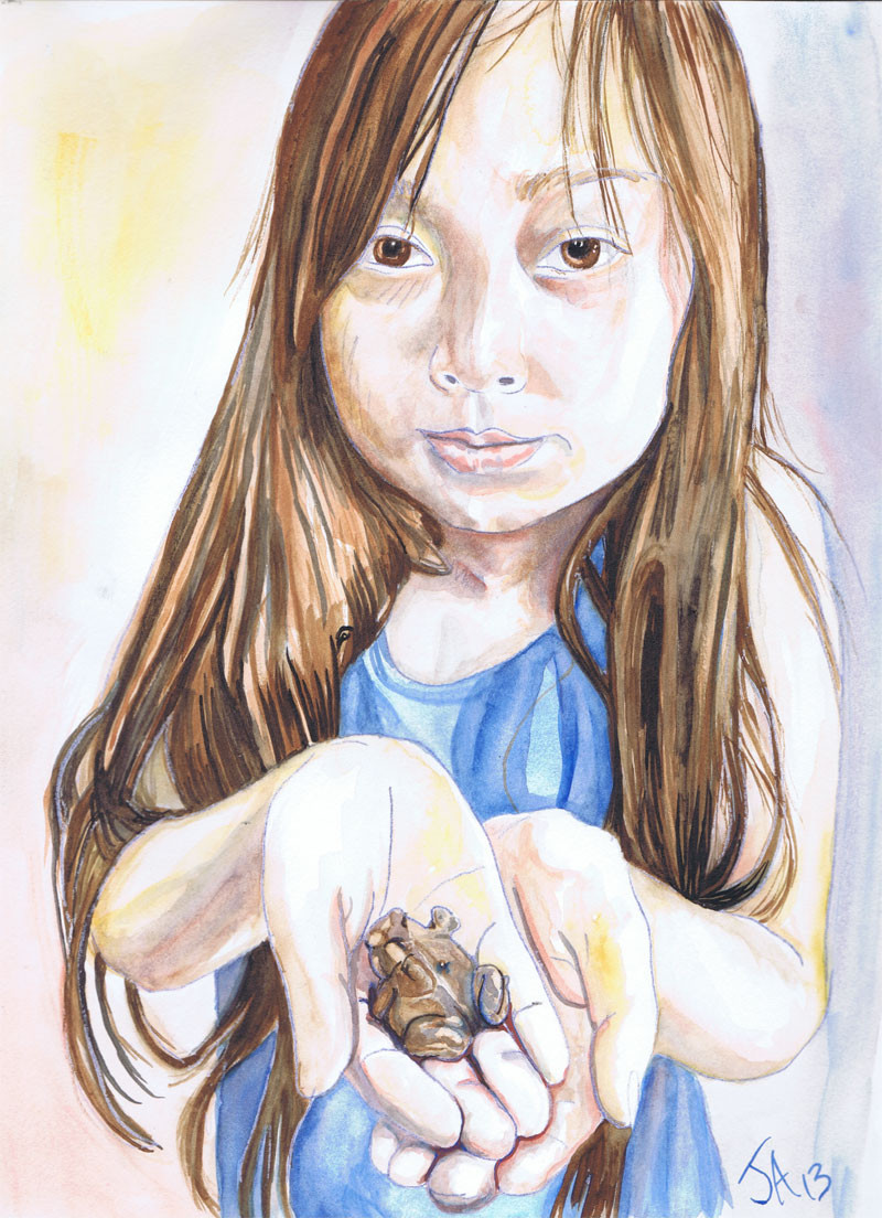 """The girl catches a magic toad"", 9"" x 12"", Watercolor and watercolor pencil on paper, sold"