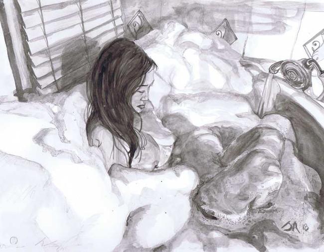 """Bubble Bath"", 9"" x 12"", ink on paper, N.F.S."