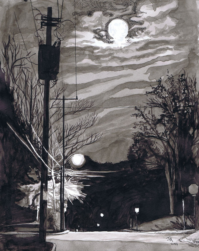 """Full Moon Stroll"", 9"" x 12"", ink on paper, N.F.S."