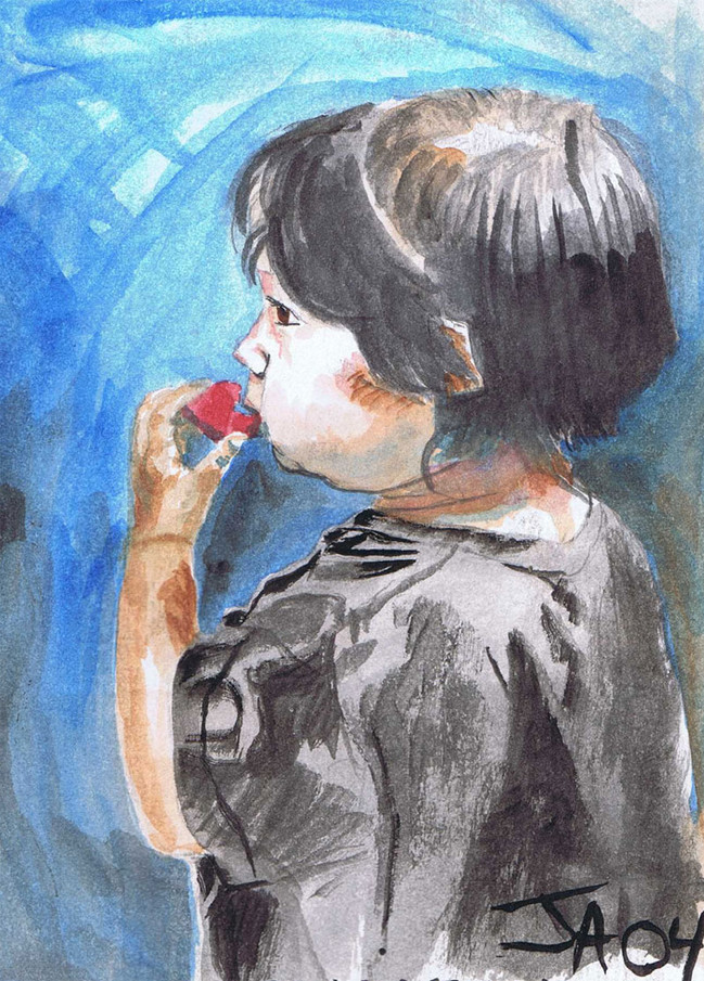 """""""Bodhi eats a strawberry"""", 5"""" x 7"""", watercolor on paper, sold"""