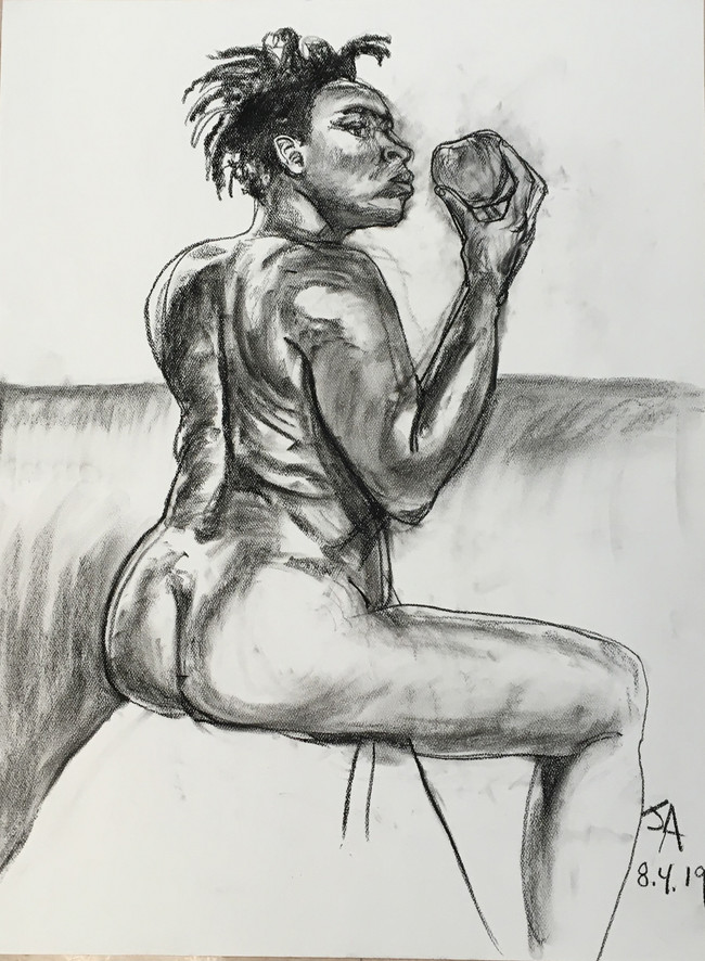 """""""Model holding an apple"""", charcoal on 18"""" x 24"""" pastel paper, 2019, $300"""