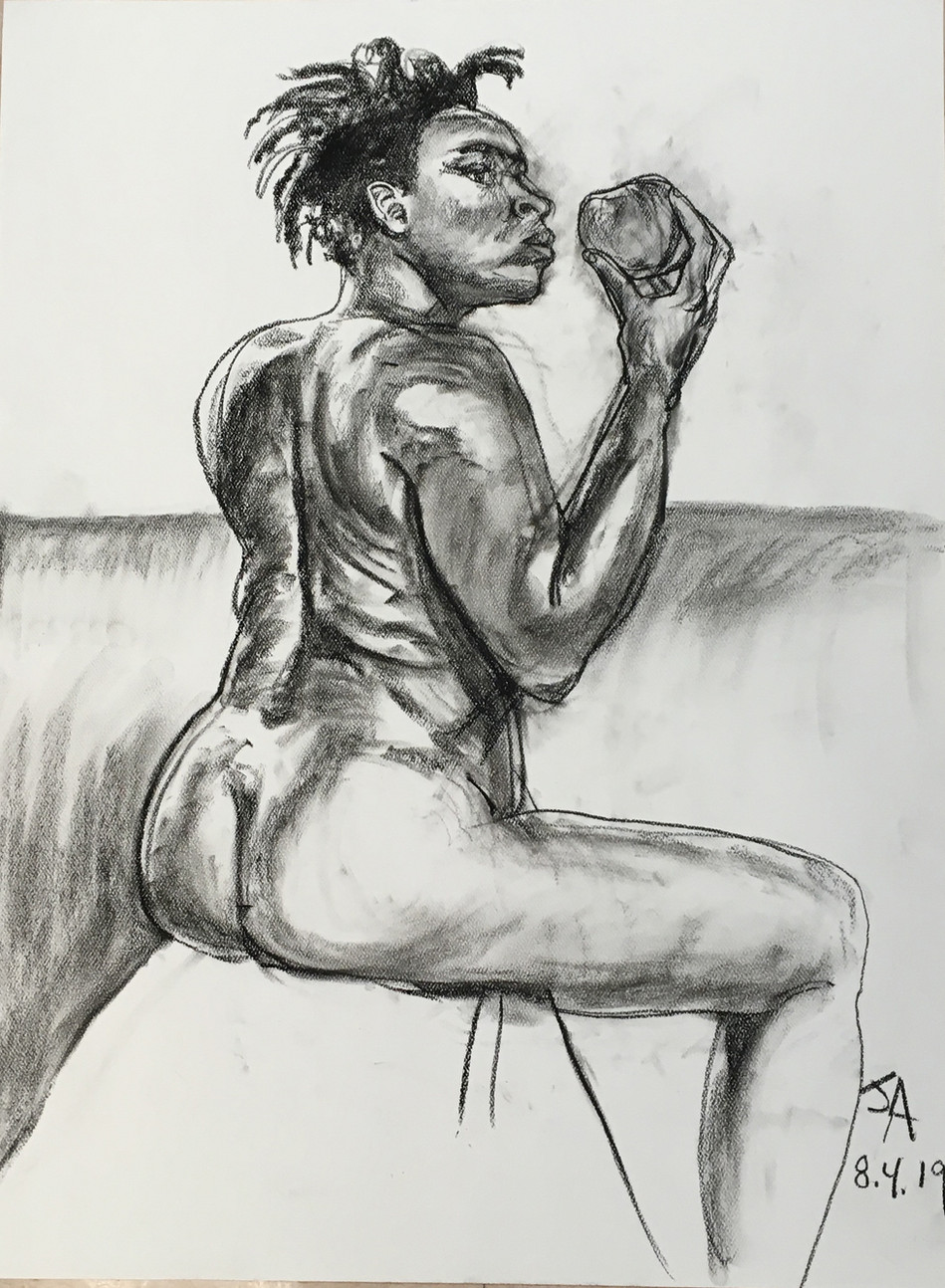 """Model holding an apple"", charcoal on 18"" x 24"" pastel paper, 2019, $300"
