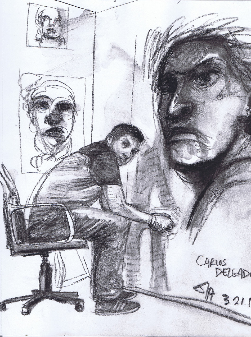 """Portrait of Carlos Delgado in his studio"", charcoal on 11"" x 14"" paper, $300"