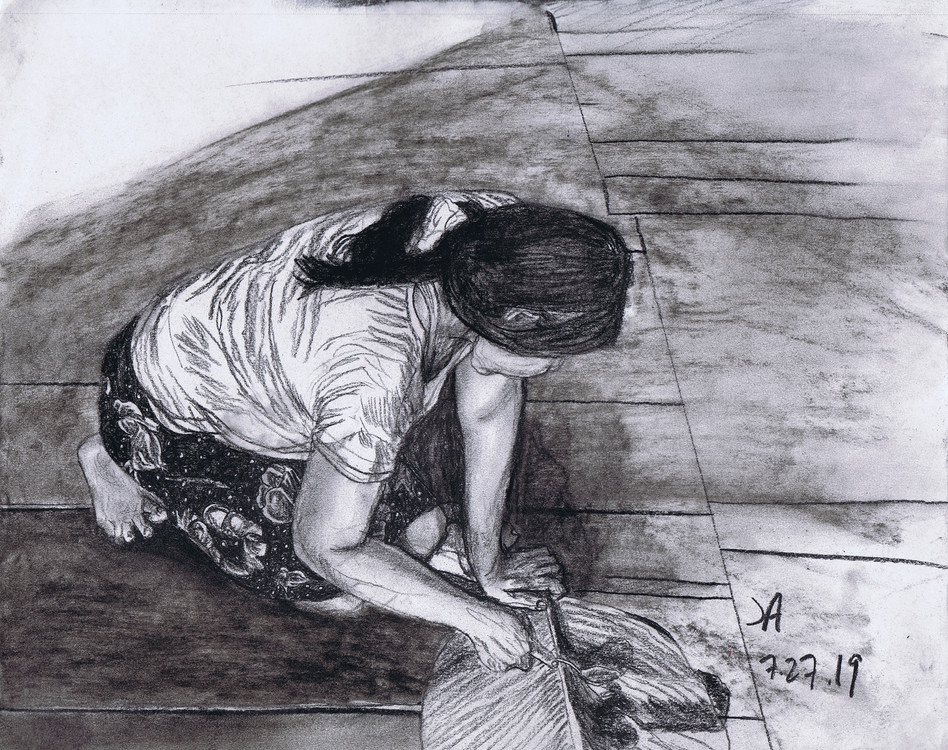 """Dahlia making chocolate"", charcoal on 11' x 14"" paper, $300"